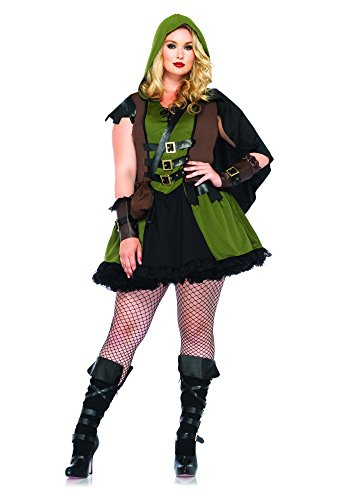 [Leg Avenue Women's Plus-Size 3 Piece Darling Robin Hood Costume, Hunter Green, 3X/4X] (Womens Plus Halloween Costumes)