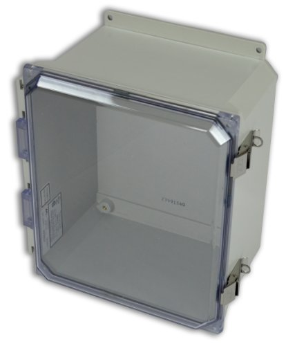 Hinged Vent Panel (Allied Moulded AMU1206CCLF Ultraline Series Fiberglass JIC Size Junction Box, Snap Latch with Mounting Flanges and Hinged Clear Polycarbonate Cover)