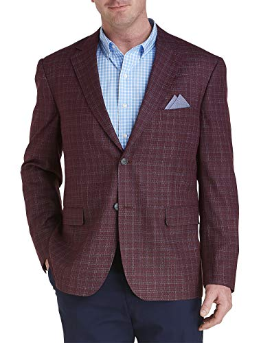 Oak Hill by DXL Big and Tall Deco Plaid Sport Coat-Executive Cut