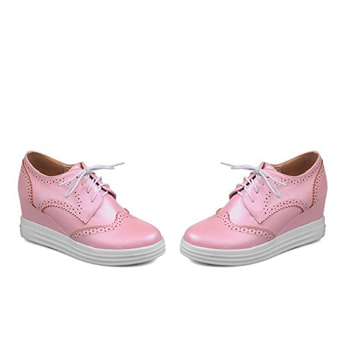 Odomolor Women's PU Kitten-Heels Round-Toe Solid Lace-up Pumps-Shoes, Pink, 36