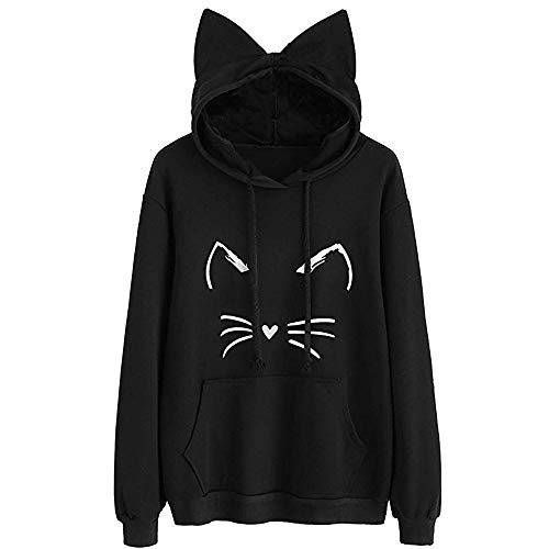 Clearance Womens Clothing - WEUIE Womens Cat Ear Solid Long Sleeve Hoodie Sweatshirt Hooded Pullover Tops Blouse(XL, Black) by WEUIE