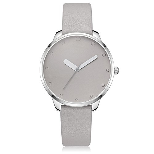 Grey Leather Watch - Xinge Women's Simple Casual Watches Leather Strap Silver Tone Bezel Unique Hands XG1063 (grey)