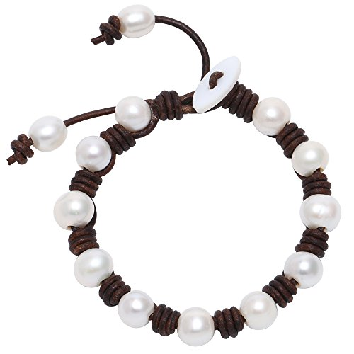 Knotted Leather (Aobei High Luster Cultured Freshwater Pearl Bracelet with Genuine Brown Knotted Leather Cord Jewelry)