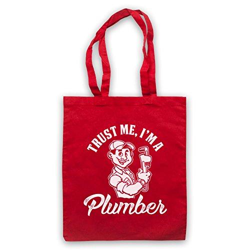 Trust Me I'm A Plumber Funny Work Slogan Bolso Rojo