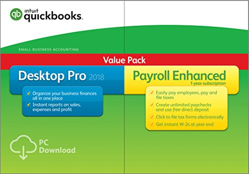 QuickBooks Desktop Pro 2018 with Payroll Enhanced Small Business Accounting Software [PC Download]