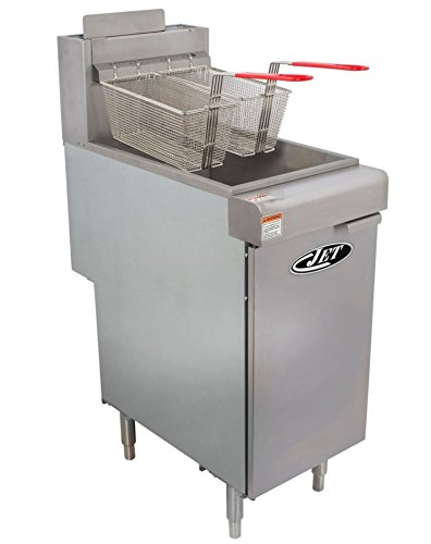 JET JFF4-50L Commercial 50lb 4 Tube Floor Gas Deep Fryer 120,000BTU Per Hr Liquid Propane LP Gas, 50 Pound Capacity, Metallic