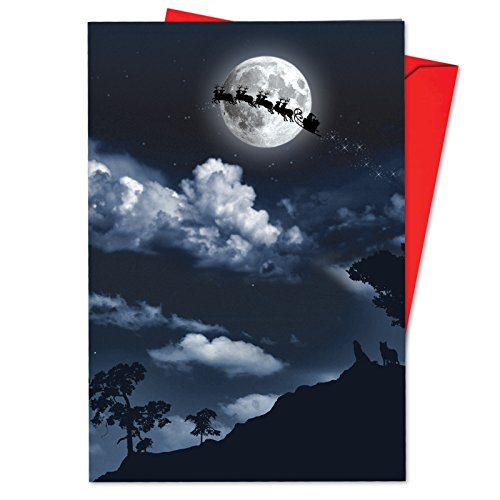 (12 'Sleigh Moon' Christmas Cards with Envelopes 4.63 x 6.75 inch, Santa Claus Riding Across the Moon Holiday Notes, Pretty Christmas Cards, Moonlit Santa Holiday Cards B6713BXSG)