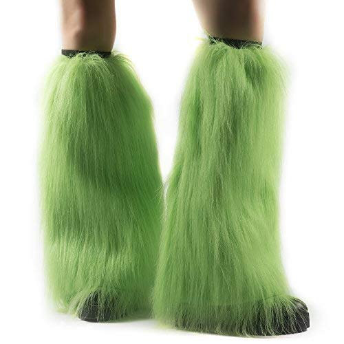 Fun Central BC588, 2 Pcs, Neon Green Furry Leg Warmers Winter Wonderland Party, St. Patrick' Day, Retro Party, Disco Party, Mardi Gras, Birthday, Christmas, Costume Party, Gifts -