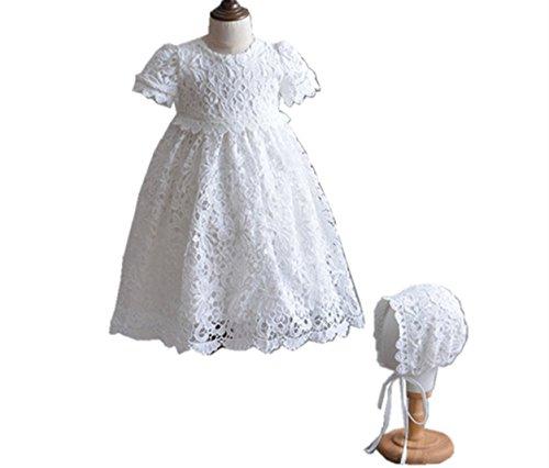 cess Lace Short Sleeve Christening Baptism Gowns Long Dress with Bonnet (6M/6-12 months, Ivory) (Gown Bonnet)