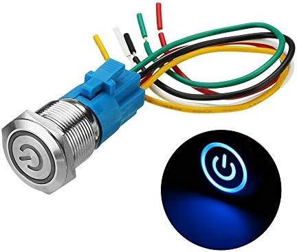 Xiang Ye 19ミリメートルメタル防水12 / 24V 5ピンのON-OFF押しボタンスイッチLED電源スイッチ (Color : Blue, Size : 24V)