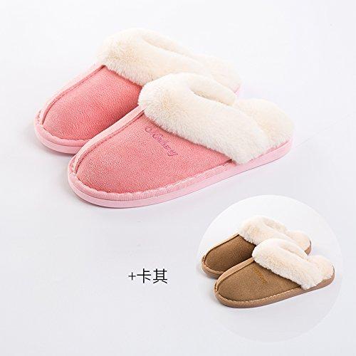DogHaccd pantofole,Il cotone pantofole donne eleganti fondo spesso giovane inverno caldo al coperto le donne in stato di gravidanza non-slip home uomini semplice home scarpe, rosa + kaki (maschio), fe