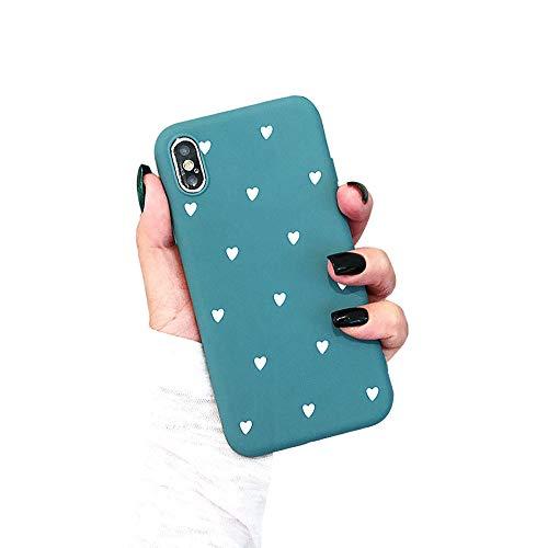 BONTOUJOUR iPhone XR Phone Case, Beautiful Art Polka Dot Flower Little Heart Pattern Serie Cover Case Soft TPU 360 Degree Good Protection- Matte Little Heart-Blue ()
