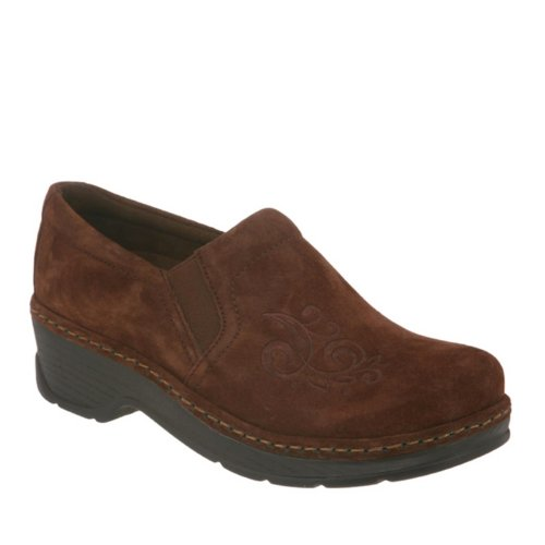 KLOGS Footwear Women's Naples Leather Closed-Back Nursing Clog Coffee Suede Scroll