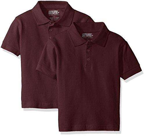 Shirt Boys Genuine (Genuine Big Boys' Short Sleeve 2 Pack Pique Polo, Burgundy, 10)