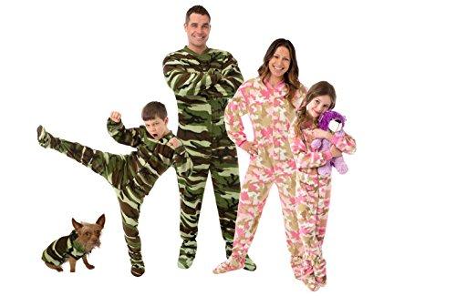 Big Feet Pjs Kids Green Camo Fleece Boys Footed Pajamas Onesie Sleeper
