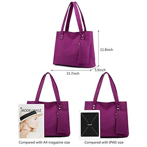 Alovhad Women Handbag Shoulder Bags Purse Waterproof Nylon Tote Travel hobo Bags Purse (Red) by Alovhad (Image #2)