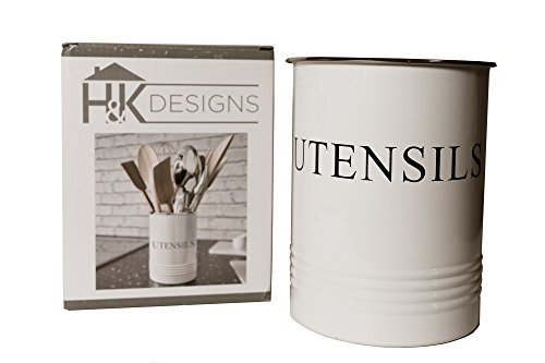 Kitchen Utensil Holder - Farmhouse Decor for Home - White Crock Organizer Caddy - Great for Large Cooking Tools by H+K Designs by H+K Designs (Image #7)