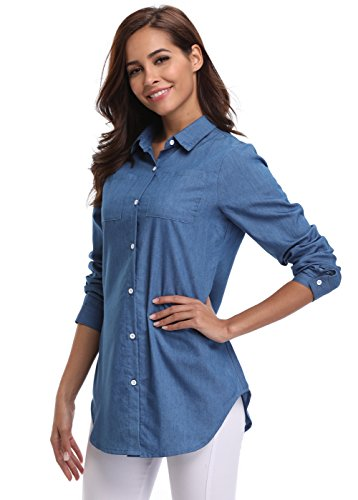 MISS MOLY Women's Long Sleeves Button Down Denim Chambray Shirt With Pockets (Ladies Long Sleeve Denim Shirt)