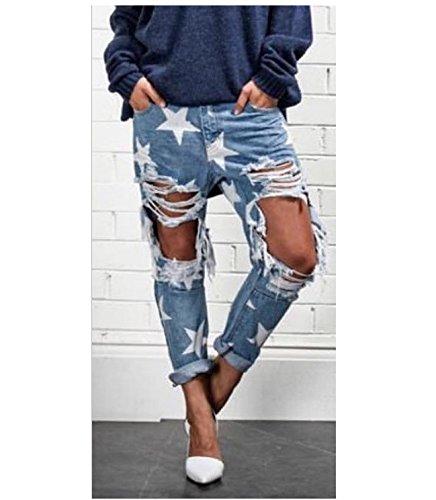 Vita Alta Skinny Zip Da Oudan Jeans E Con Fori Blu A Bassa Donna RwIHZnpUq