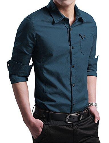 (XTAPAN Men 100% Cotton Shirt Button Up Work Shirts Slim Fit Shirt Lake Blue 3XL)
