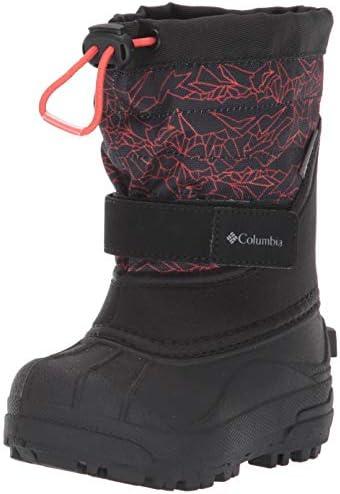 Columbia Powderbug Plus II Print Boys sz 4 Waterproof Snow Boot Shark Bright Red