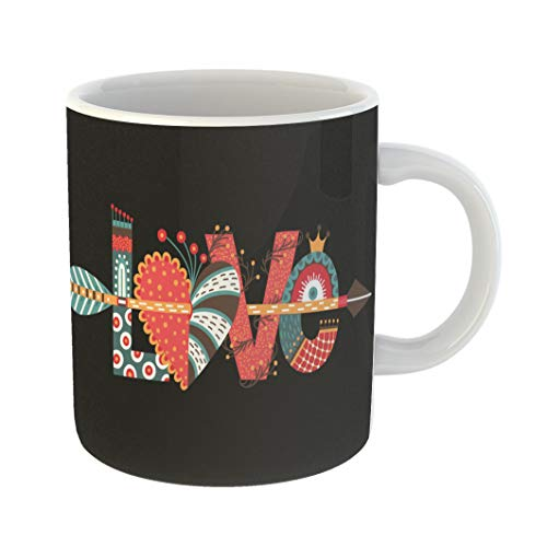 Emvency 11 Ounces Coffee Mug Handdrawn Love Lettering Happy Valentine Day Heart Arrow Freehand Doodle Holiday in February Amour White Ceramic Glossy Tea Cup With Large C-handle