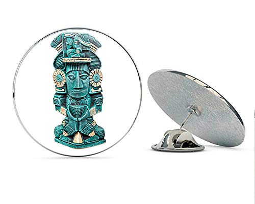 "BRK Studio Old Ancient Teal Mayan Aztec Civilization Statue Cartoon Round Metal 0.75"" Lapel Pin Hat Shirt Pin Tie Tack Pinback"