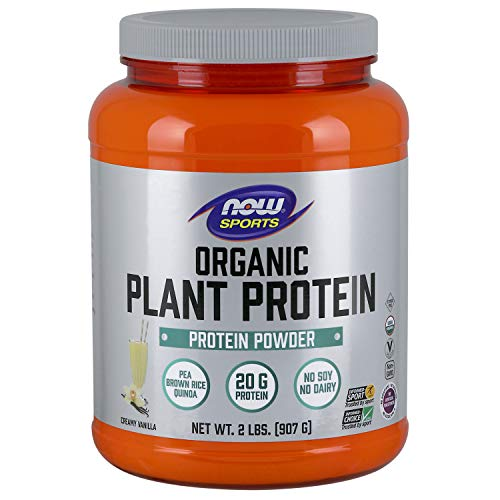 Now Sports Nutrition, Organic Plant Protein, Creamy Vanilla Powder, 2.2-Pound 2 Lb Powder Now Foods