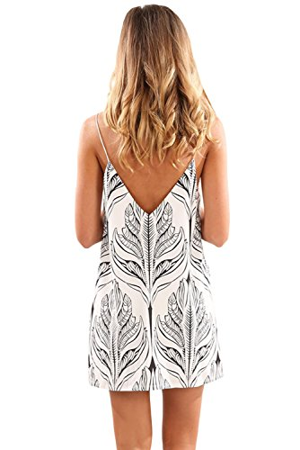 White Plant Womens Beach Dress Boho Maketina Print Sexy Strap Black Summer Short wazPxHq4