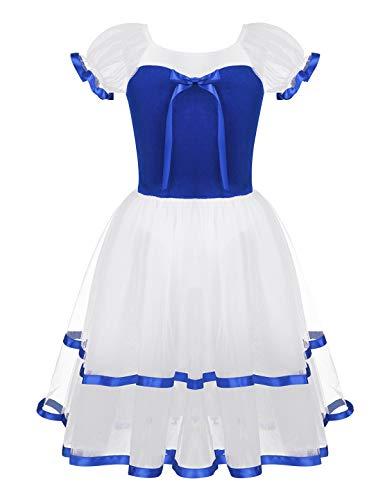 YiZYiF Kids Big Girls' Puff Sleeves Romantic Long Mesh Tutu Ballet Dance Dress Ballroom Dancing Costumes Royal Blue 14