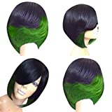 Women Short Bobo Wig with Bangs Micro-Curly Color Layering False Hair Full Wig Styling Cool for Daily Costume Party Masquerade Cosplay (Green)