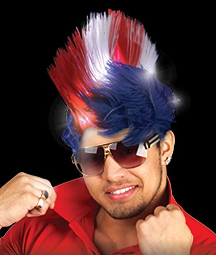 Fun Central LED Light Up Patriotic Mohawk Wig Headband for Women & Men - 4th of July Party Supplies (For Blue Wig Kids Mohawk)