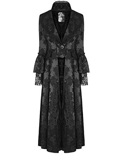 Negro Punk Vestido Chaqueta steampunker Rave Dama Regency Victoriano Para largas Gótico ZZHAF0