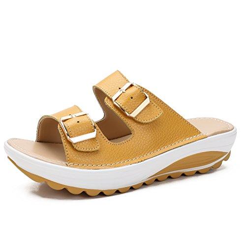 fereshte Womens Comfy Platform Low Wedge Heel Buckle Slide Sandals Yellow Label Size 41-255mm - US 9