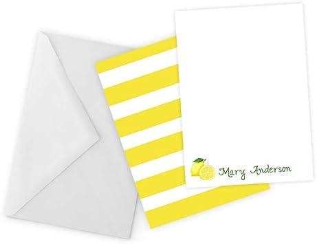 Social Stationery LM1 Lemon Custom Note Cards Lemon Floral Flat Note Cards Fine Stationery Feminine Stationery Modern Stationary