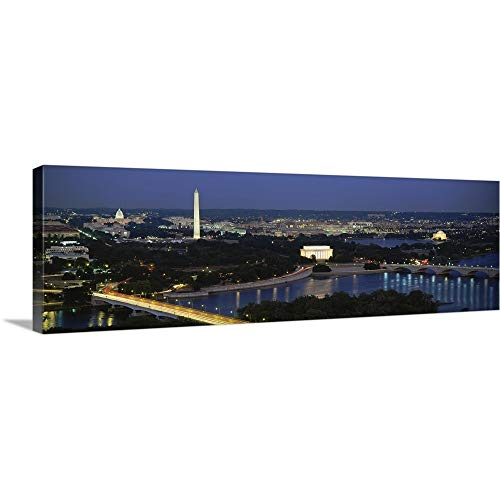 Solid-Faced Canvas Print Wall Art Print Entitled High Angle View of a City, Washington DC 60 x20