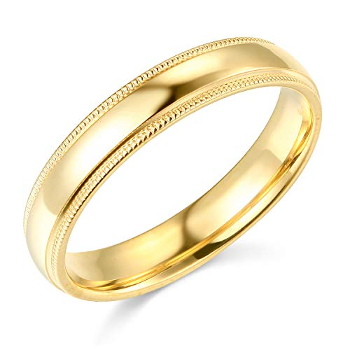 Wellingsale Ladies 14k Yellow Gold Solid 4mm COMFORT FIT Milgrain Traditional Wedding Band Ring - Size 4
