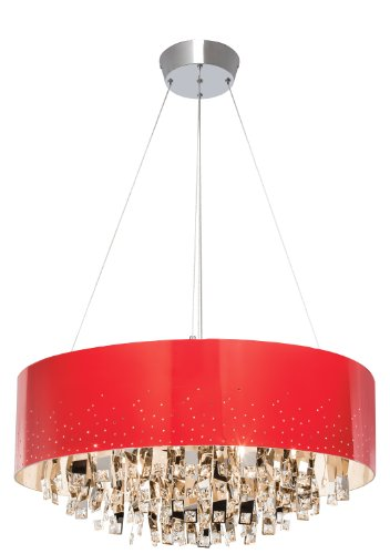 Elan Lighting 83156 Vallo 12LT Oval Pendant, Chrome Finish with Red Metal Shade and Clear Crystal and Chrome Accents