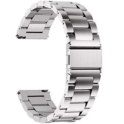 (Fullmosa Quick Release Watch Band, Stainless Steel Watch Strap 16mm, 18mm,19mm,20mm,22mm or 24mm, 19mm Silver)