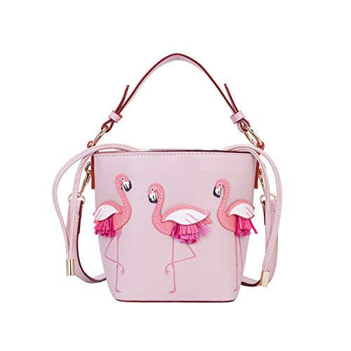 Magibag Small Flamingo Drawstring Bucket Shoulder Bag Barrel Tote Handbag for Womens Girls