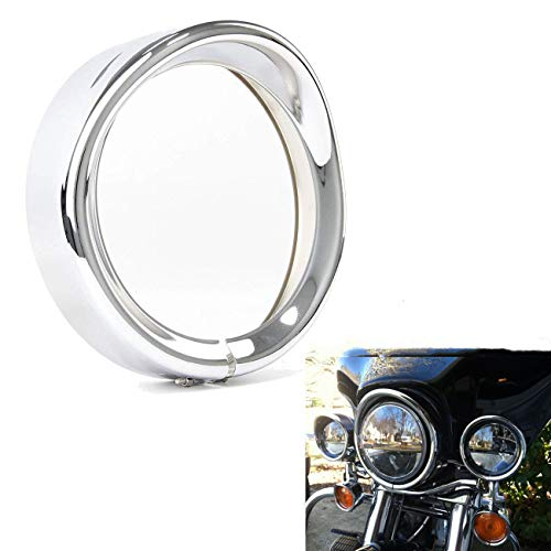 Harley Headlight Light Trim Ring Aramox Visor Style Headlight Head Light Trim Head Lamp Trim Ring Motorcycle Headlamp Protector 5.75''for 94-14 FLHR Touring Electra Glide Motorcycle Chrome 1pc