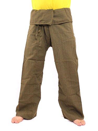 jing shop Thai Fisherman Pants Solid Color Cotton Mix One Size X-Long Green ()