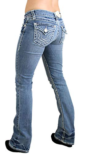 LA Idol Classic Three Rhinestone Studded Light Blue Denim Jeans - Waist - Jeans Rhinestone Pants