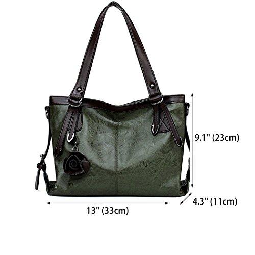 Shoulder Handbags Hobos Green Top Leather Bags PU Handle Women's Bags IUwXqtU