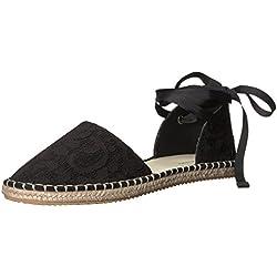 A|X Armani Exchange Women's Lace Espadrille Sandal, Black, 8 M US
