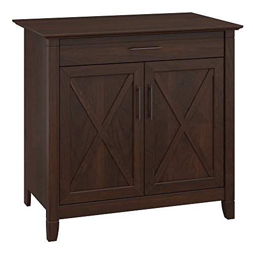Bush Furniture Key West Secretary Desk with Keyboard Tray and Storage Cabinet in Bing Cherry