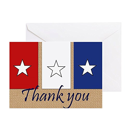 CafePress - Thank You Stars Greeting Cards - Greeting Card (10-pack), Note Card with Blank Inside, Birthday Card Matte (Americana Note Card)