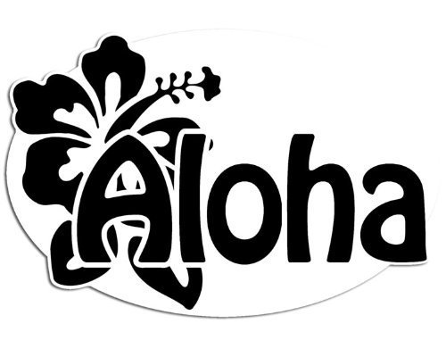Oval ALOHA w Hibiscus Flower Shape Sticker (hawaiin ()