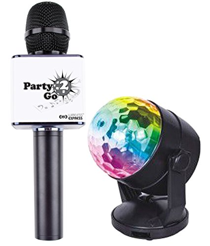 Party2Go Bluetooth Karaoke Microphone and Disco Ball Set (Black)
