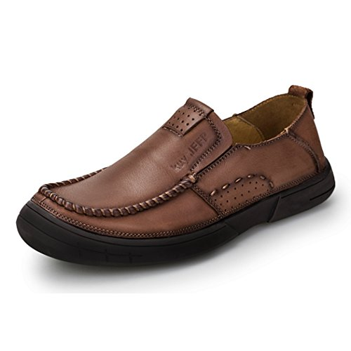af58fde9a7e Qianling Collection Men s Loafers Casual Slip Ons Driving Office Work  School Shoes Soft Leather Flats Brown